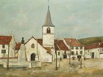 La place de l'église à Macornay (Jura)