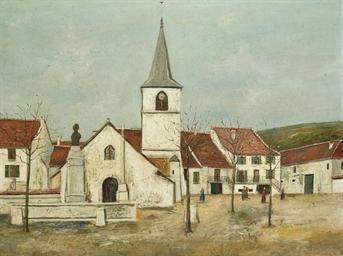 La place de l'église à Macorna
