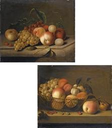 Cesto di frutta; e Frutta su u
