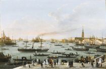 Veduta del Bacino Grande di San Marco verso ovest, con le chiese del Redentore, di San Giorgio Maggiore e della Salute, e Palazzo Ducale