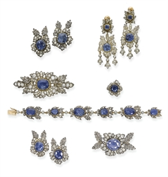 A SUITE OF ANTIQUE SAPPHIRE AN