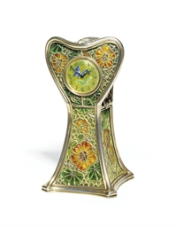 AN ART NOUVEAU ENAMEL AND SILV