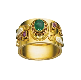 A GEM-SET, ENAMEL AND GOLD BAN