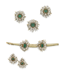 A SET OF EMERALD AND DIAMOND J