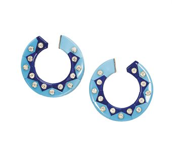 A PAIR OF TURQUOISE, LAPIS LAZULI AND DIAMOND EAR CLIPS | Jewelry Auction | earrings, diamond | Christie's