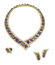 A SUITE OF GEM-SET, DIAMOND AN