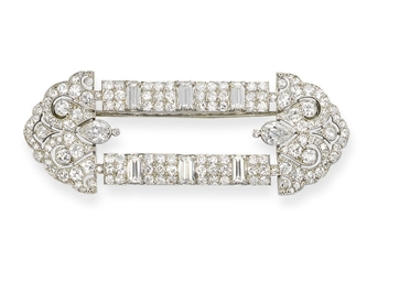 AN ART DECO DIAMOND BROOCH, BY
