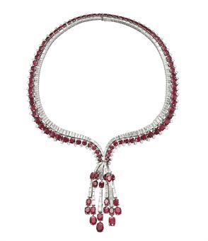 A RUBY AND DIAMOND NECKLACE | Jewelry Auction | necklace, diamond | Christie's :  necklace locate view find