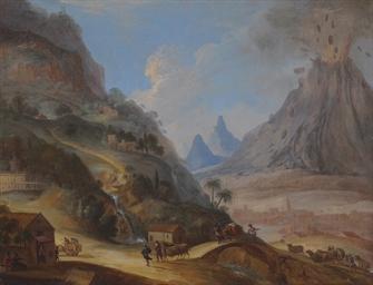 Vista de Antigua con el volcán