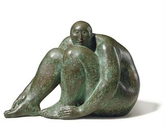 Desnudo sentado con la cabeza