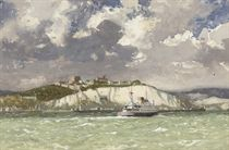 The Channel Ferry heading into Dover on a breezy day