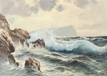 Breaking waves, Capri beyond;