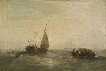 A Dutch hoy towing a long boat past other vessels
