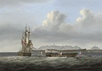 H.M.S. San Fiorenzo and the defeated French frigate Piémontaise after the action off Ceylon, 6-8th March 1808