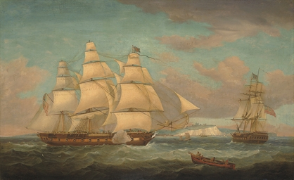 An East Indiaman in two positi