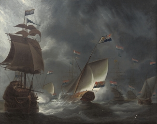 The Dutch fleet firing a salut