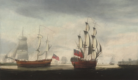A three-masted merchantman in