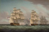 H.M.S Venerable exchanging fire with the French frigate Alcmène prior to capturing her off the Canary Islands on 16th January 1814, with another French frigate, the Iphigénie, bearing away to escape the fight