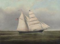 The American brigantine M Louisa Miller off the coast of Maine, 1866
