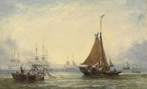 Fishermen drying their sails at the end of the day, Royal Navy two-deckers anchored beyond