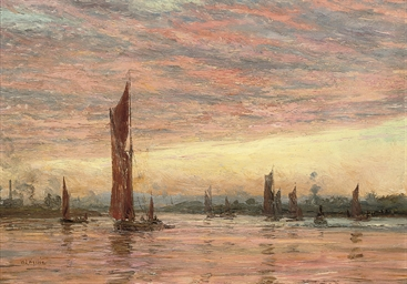 Thames's barges at sunset