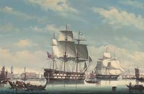 A British two-decker in Venetian waters; and A view of Venice with shipping in the foreground
