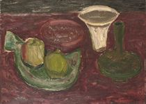 Still life with apple and bowl