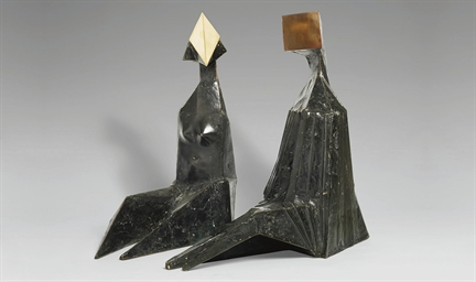 Pair of Sitting Figures VII