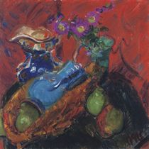 Jugs, Pears and Violet Daisies