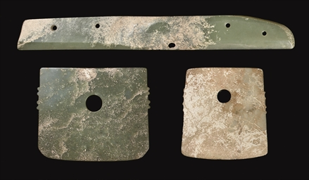 TWO JADE AXES, SHANG DYNASTY A