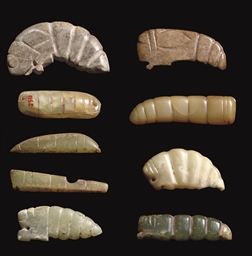 A GROUP OF NINE JADE CICADA AN