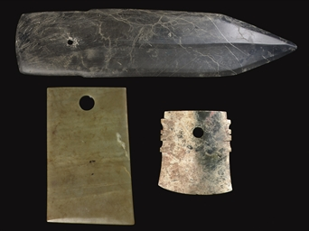 THREE JADE CEREMONIAL BLADES,