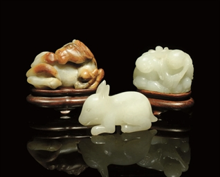 A GROUP OF THREE JADE CARVINGS