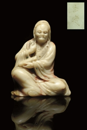 A SOAPSTONE CARVING OF A LOHAN