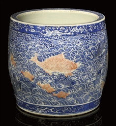 A LARGE UNDERGLAZE BLUE AND CO