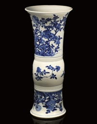 A BLUE AND WHITE GU VASE, KANG
