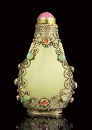 A WHITE JADE GILT FILIGREE SET