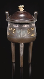 A BRONZE INLAID CENSER AND WOO