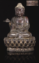 AN IRON MODEL OF BUDDHA, DATED