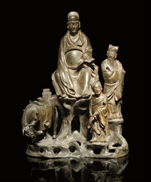 A BRONZE FIGURAL GROUP, 17TH C