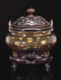 A GILT SPLASHED CENSER, 18TH C