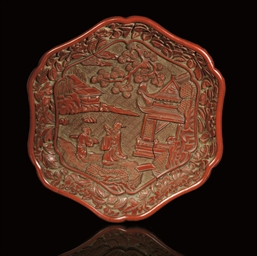 A RED LACQUER HEXAGONAL DISH,