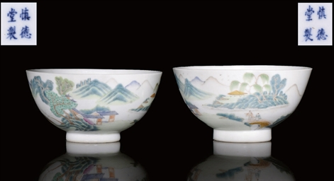 A PAIR OF FINELY ENAMELLED POR
