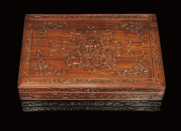 A CARVED ROSEWOOD BOX AND COVE