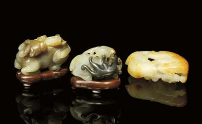 THREE JADE CARVINGS, 19TH AND