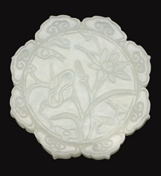 A WHITE JADE FLORAL PLAQUE