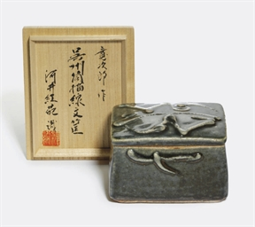 A Stoneware Box and Cover