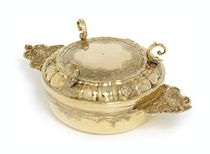 A GERMAN SILVER-GILT ECUELLE AND COVER