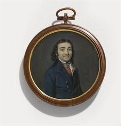 A gentleman, in blue coat, red
