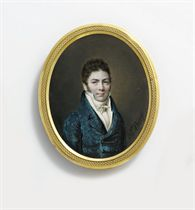A young gentleman, called the miniaturist Gra[...], in blue velvet coat, white waistcoat, shirt and knotted cravat